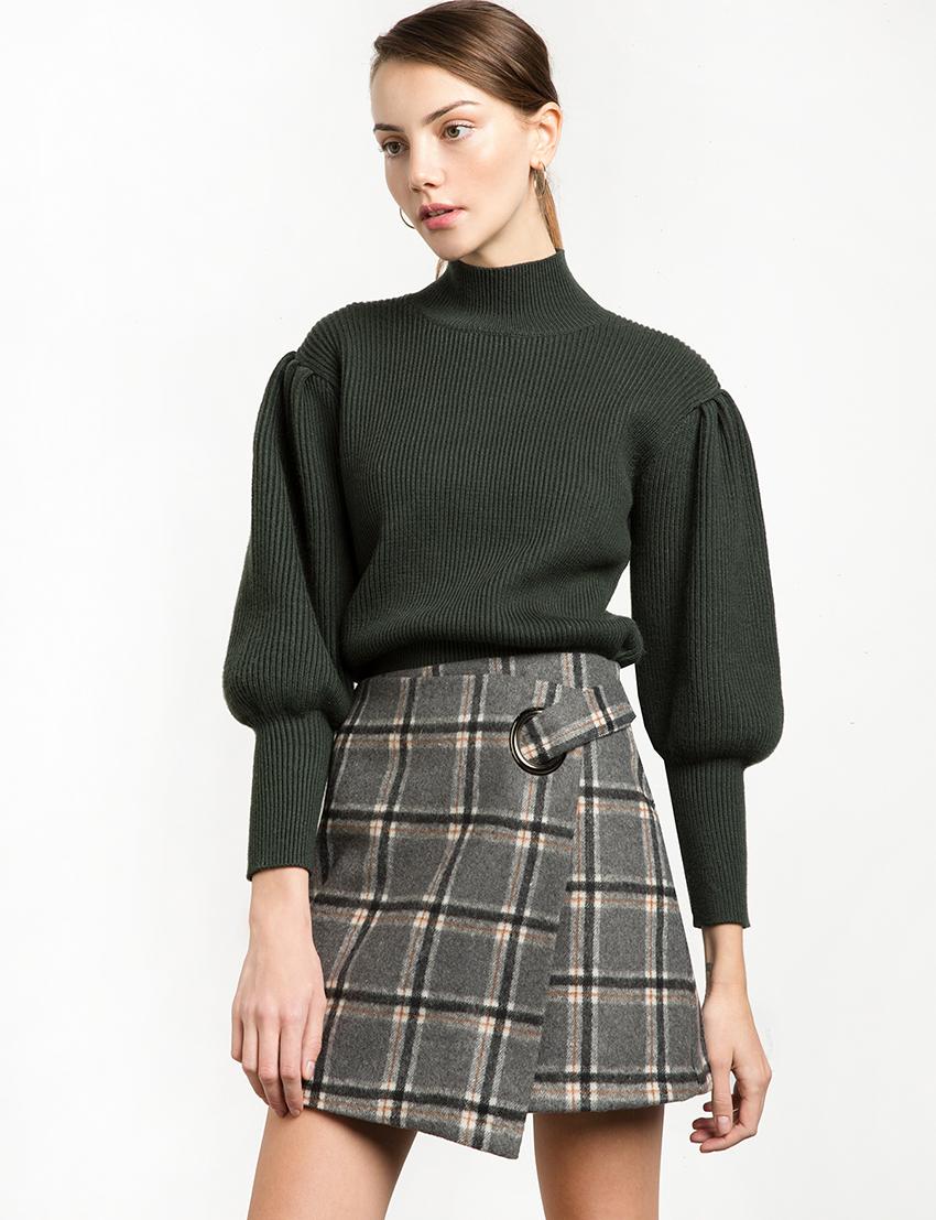 pixie-market-green-balloon-sleeve-sweater