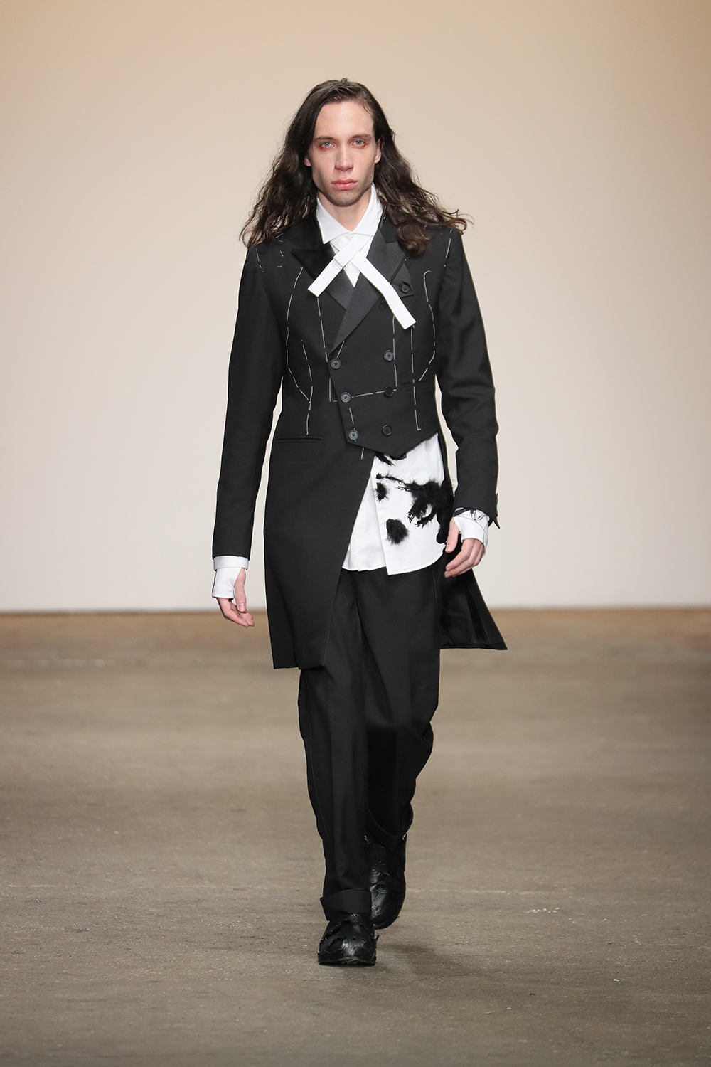 """The third to walk in the """"Ones To Watch"""" show was the Chinese label Just In Case. The brand was founded by Chou Yu-Ying"""