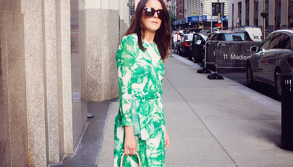a Shein Palm Leaf Maxi Dress and A DAY DOWNTOWN