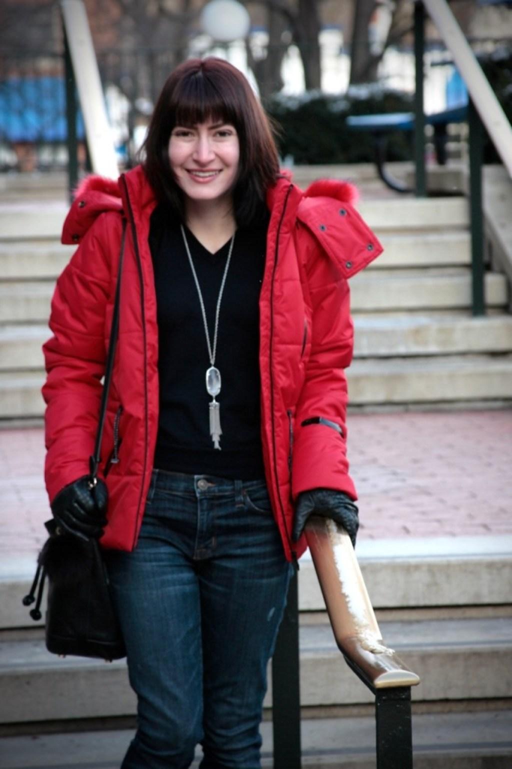 topshop red sno jacket