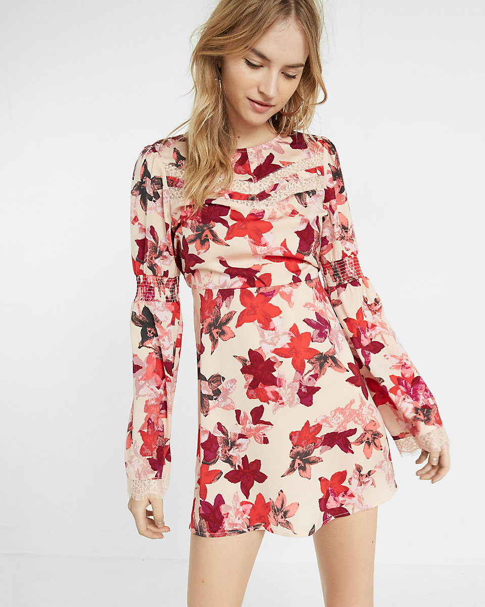 Express Floral Print Silky Smocked Bell Sleeve Dress