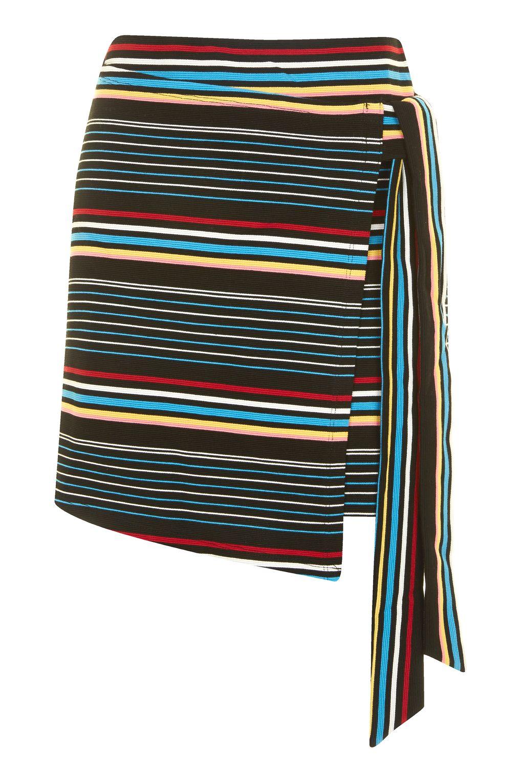 bright stripe wrap skirt topshop