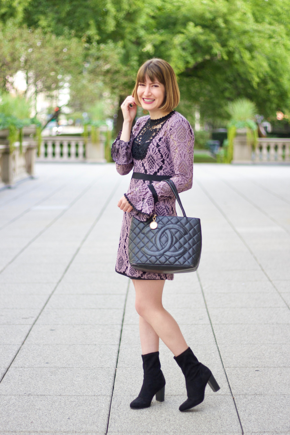 Lace Dress + Chanel Bag From DesignerShare