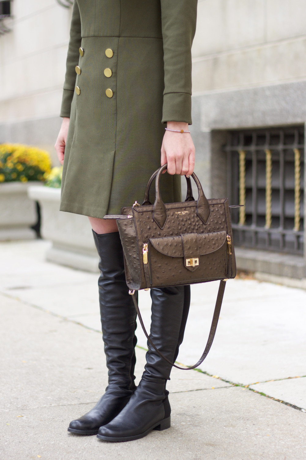 Green Dress and Over the Knee Boots