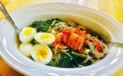 Ginger-sesame buckwheat noodle soup (gluten-free)