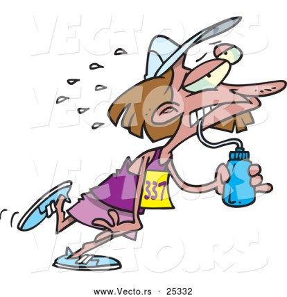 vector-of-a-exhausted-cartoon-woman-running-a-marathon-while-drinking-water-by-ron-leishman-25332