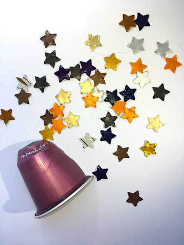 Nespresso capsule slice and cutout stars