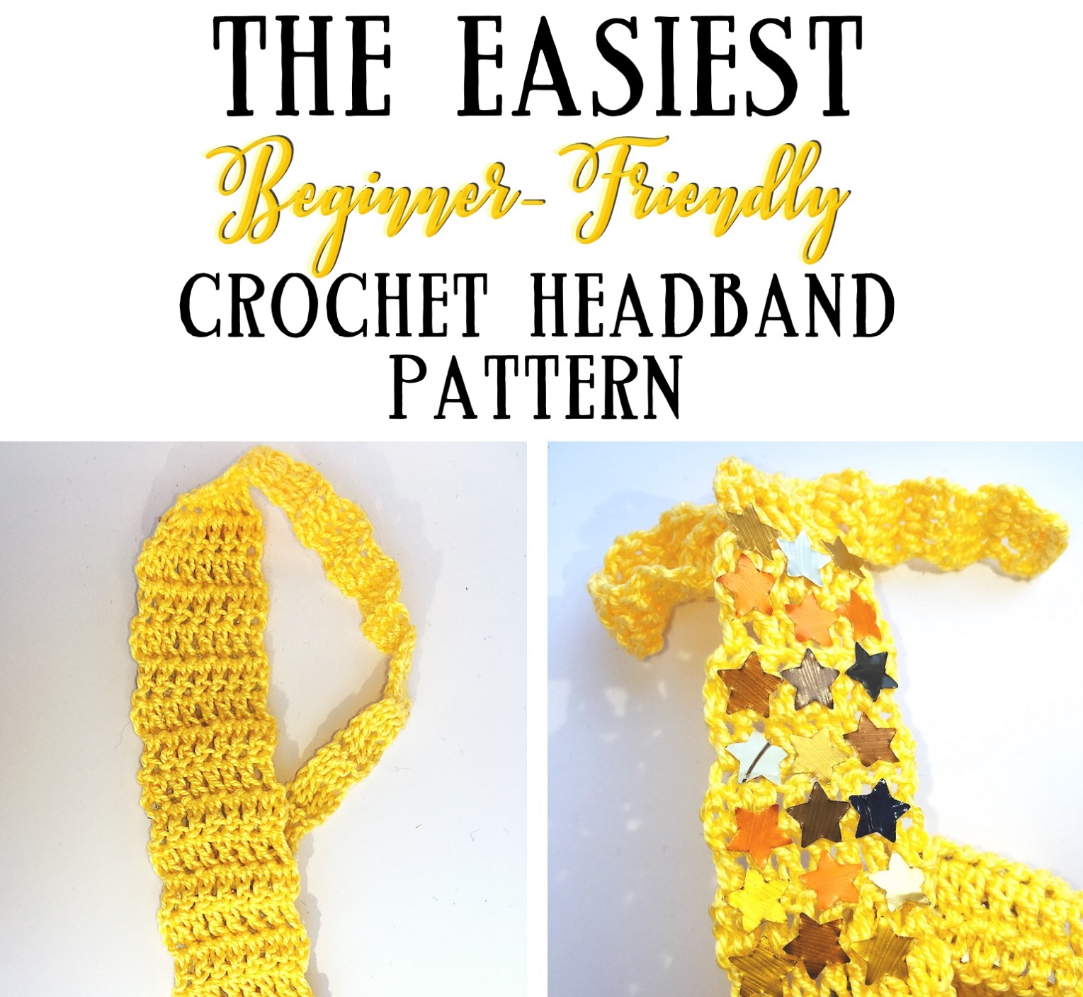 My first easy blingy crochet headband pattern