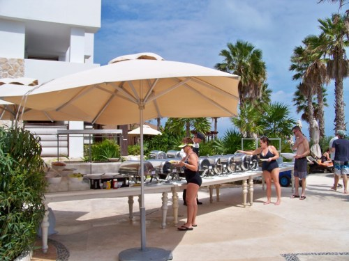 Dreams Playa Mujeres poolside BBQ next door at Secrets resort