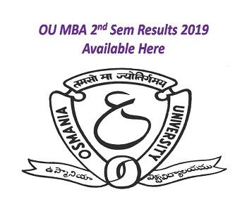 Osmania University OU MBA 2nd Sem Results 2020 Check MBA 3
