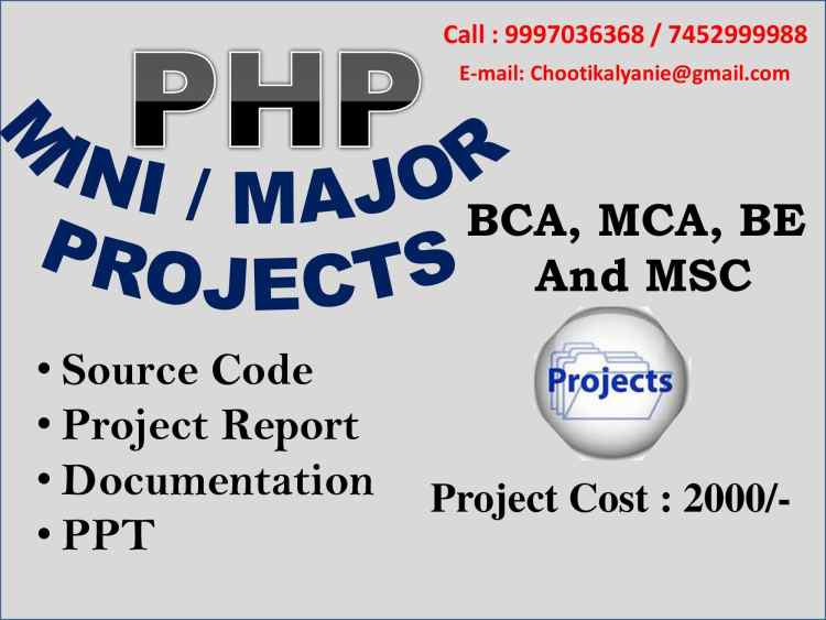 php projects with source code, Documentation and Project Report