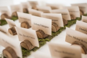 Mini wood stumps held place cards.