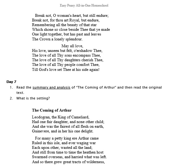 idylls of the king example