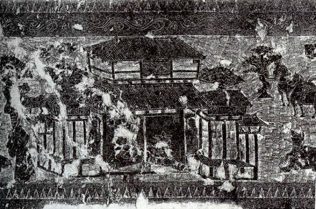 A rubbing of a Han pictorial stone showing an ancestral worship hall