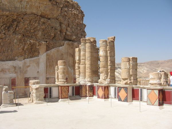 Pillars in the remains of the Masada