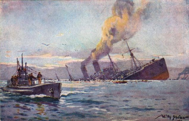 A Painting of a Ship Sinking