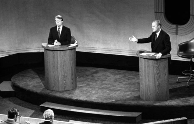 Ford and Carter in a debate in 1976