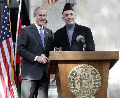 President Bush and President Hamid Karzai of Afghanistan