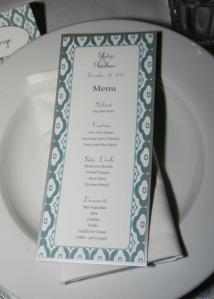 Anniversary or wedding menu