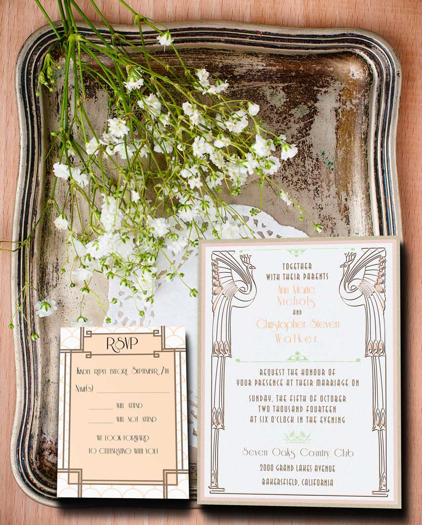 Champagne and Cream Colored Gatsby Inspired Wedding Invitation