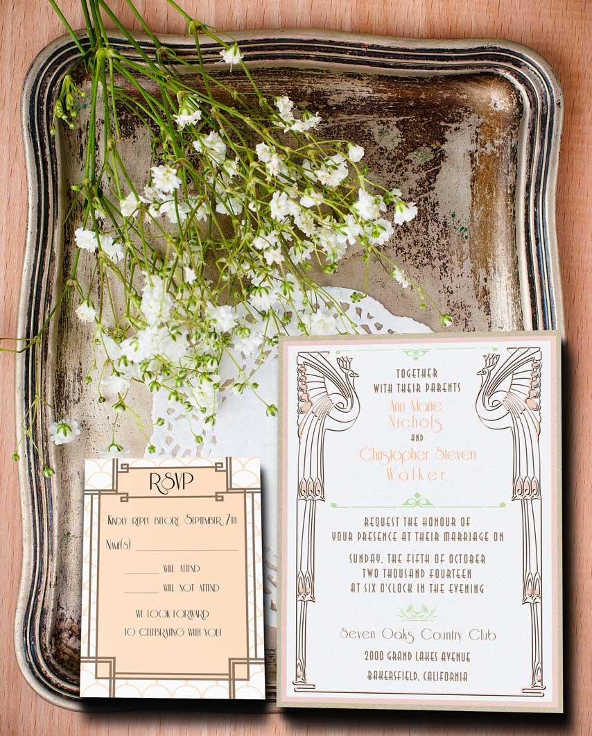 Champagne and Cream Colored Gatsby Inspired Wedding Invitation