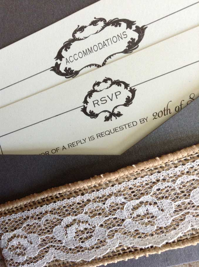 Burlap and Lace Pocket Card Wedding Invitation