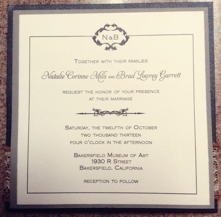 monogram wedding invitation