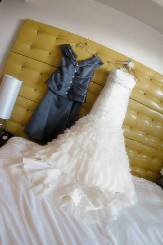 Bride's dress with Mom's dress
