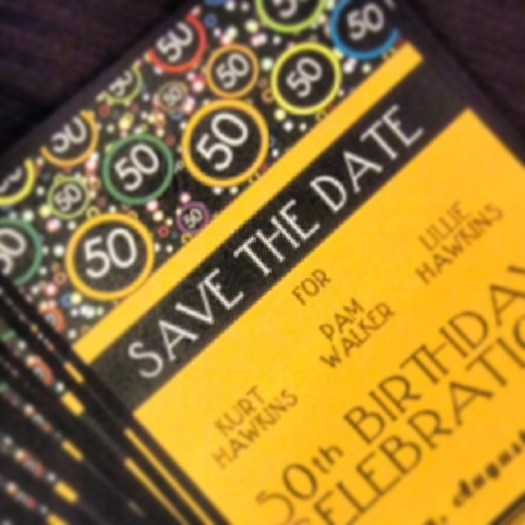 Fun and festive Save the Date for a 50th birthday celebration!! #allintheinvite #birthdaycelebration #savethedate #50th