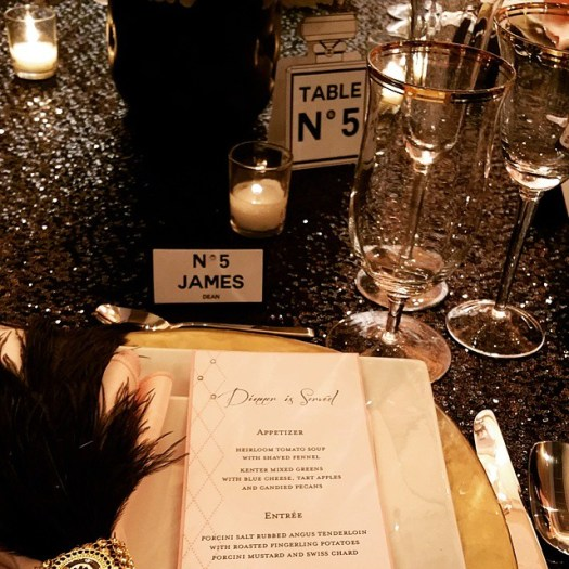 Up close view of the table setting displayed at Its Your Party setup at The Ultimate Bridal Event. #chanelthemeparty #chaneltheme #chanelinvitations #allintheinvite #ultimatebridalevent