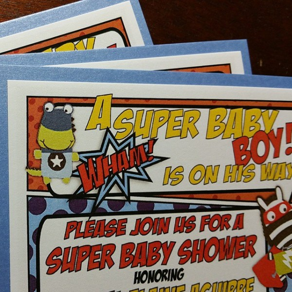 Celebrating a super-Mommy-To-Be with a Superhero baby shower theme #allintheinvite #babyshower #superherotheme #babyshowerinvitations