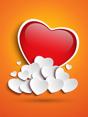 Mother Day Heart Clouds on Orange Background