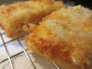Crispy fried crust on mac and cheese.