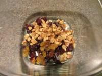 Dried cherries, golden raisins, and walnuts.