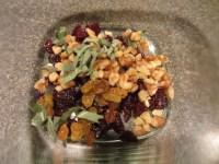Dried cherries, golden raisins, walnuts, and fresh sage.