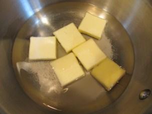 Butter, water, sugar, and Kosher salt.