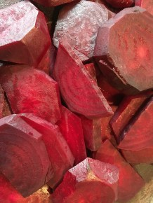 Peeled and sliced beets.