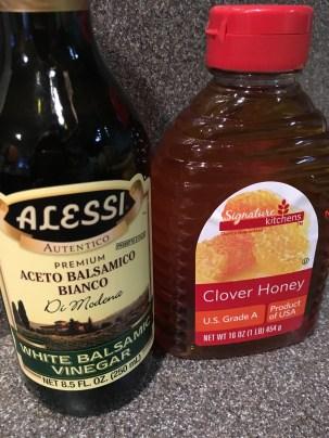 White balsamic vinegar and honey.