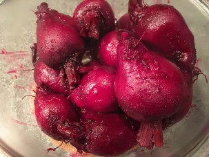 Beets removed from the pan once tender.