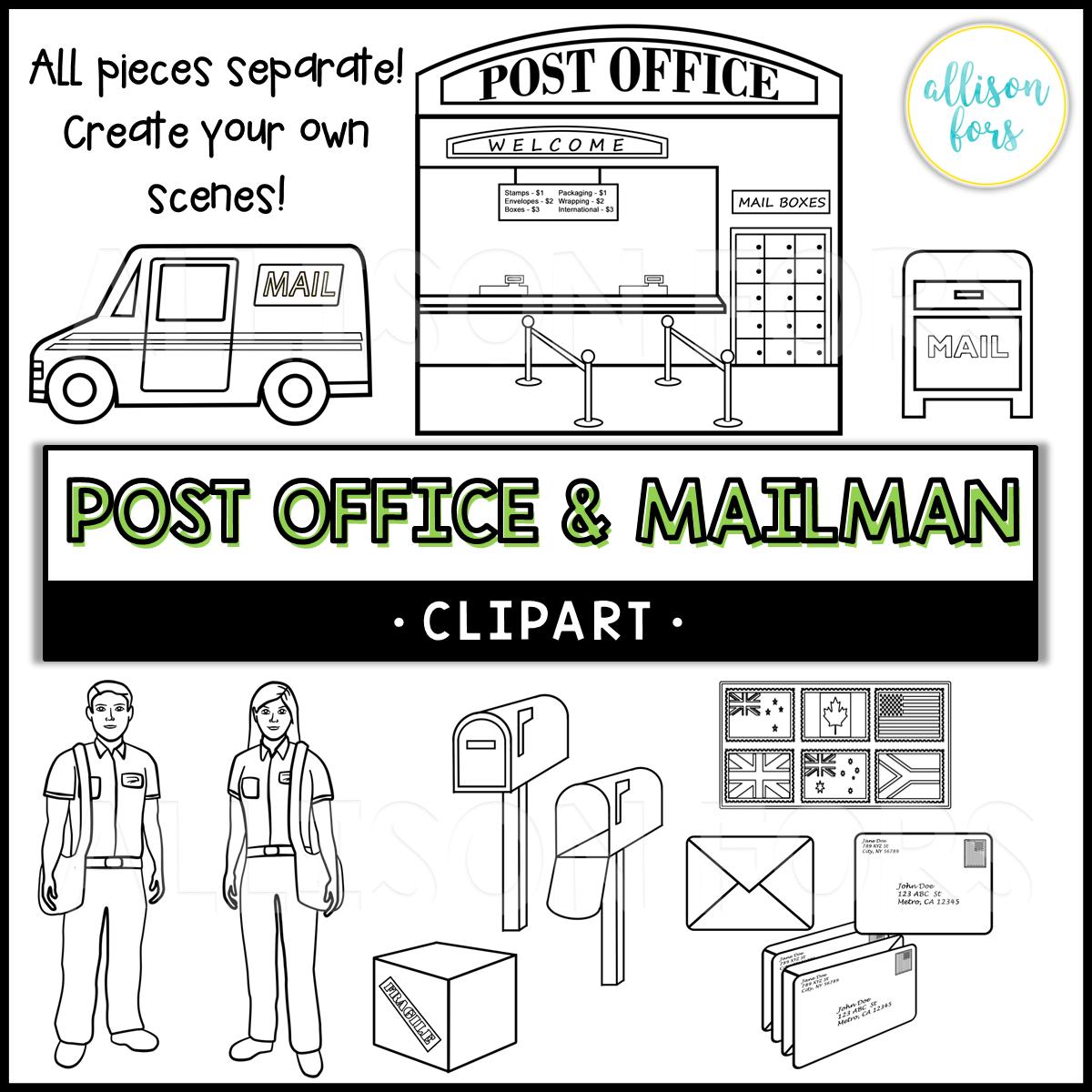 Community Helpers Post Office Amp Mailman Clip Art