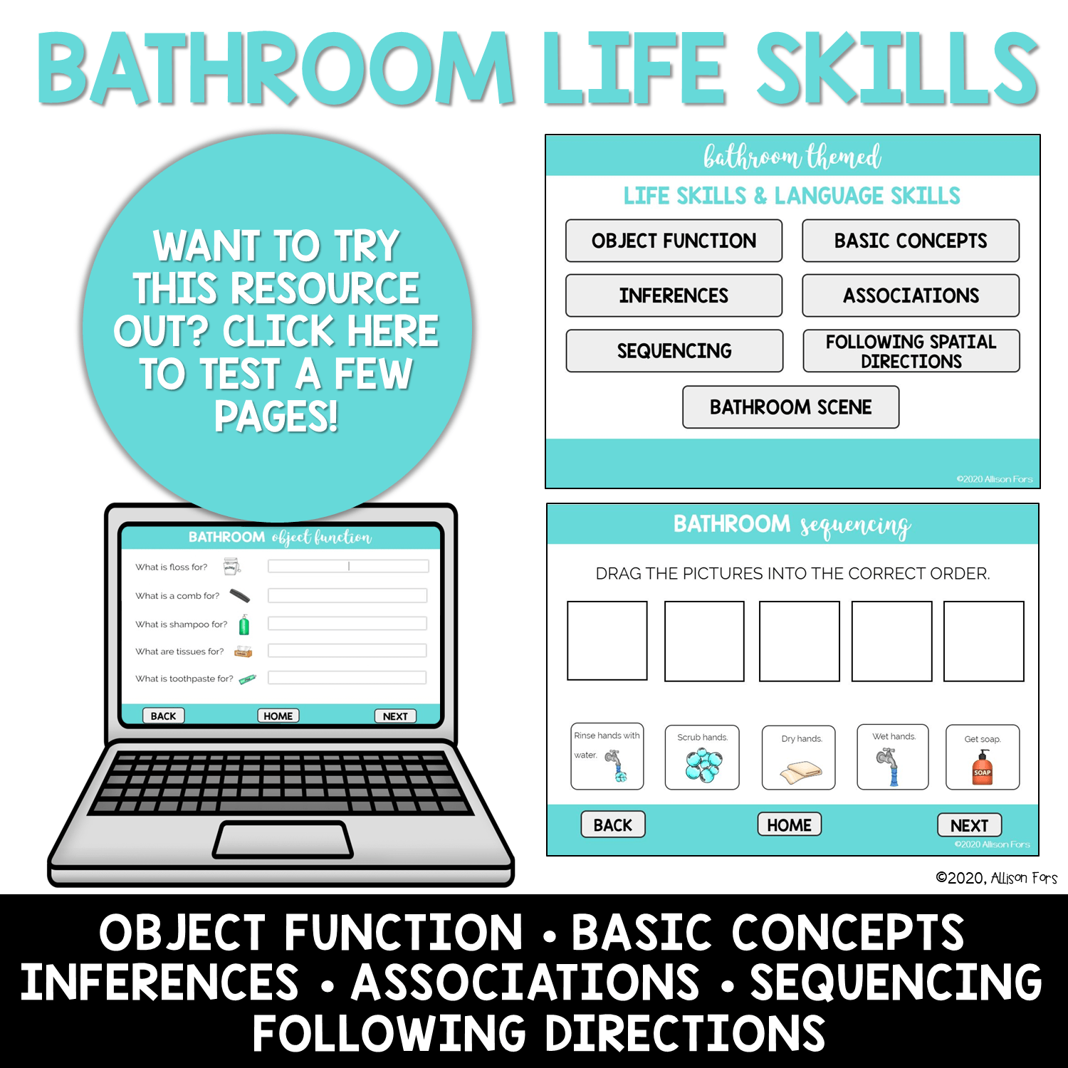 No Print Boom Cards Bathroom Themed Life Skills