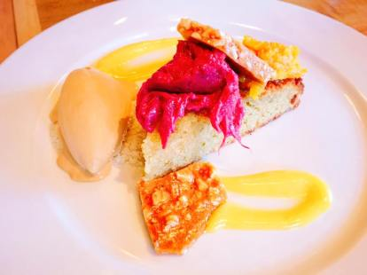 Olive oil cake, dulce de leche ice cream, rhubarb compote, mandarin marmalade, meyer lemon curd, almond brittle, lavender syrup ~$11