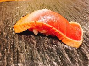 Zuke chutoro,, bluefin medium fatty tuna cured in soy sauce