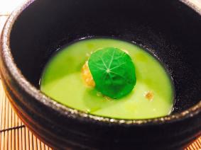 Appetizer: Cold Asparagus puree soup, Deep-fried Lingcod