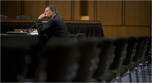 Leon F. Panetta opened a loophole in the Obama administration's interrogation restrictions while testifying before a Senate panel this month. (Michael Temchine for The New York Times)