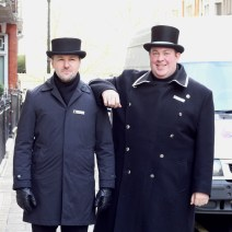 DOORMEN happy to pose for a photo outside our hotel in London.