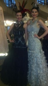 """Another photo Brandise Danesewich and Linda Taylor in dresses designed by Sue Wong: Opening night of """"I Due Foscari"""" at LA Opera (photo by CK Dexter Haven)"""