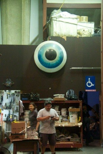 Wotan's eye, one of the props from The Ring Cycle, watches over everything backstage