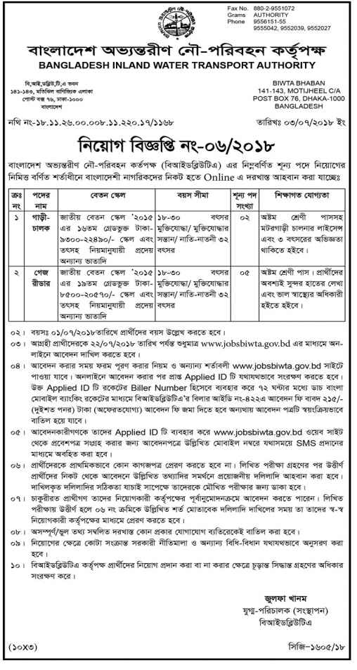 Bangladesh Water Inland Transport Authority Job Circular 2018