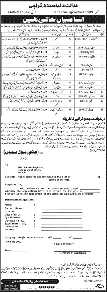 Sindh High Court Jobs 2019 Application Form Download